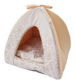 Best Pet Supplies Tent Bed, Medium, Beige Swirl