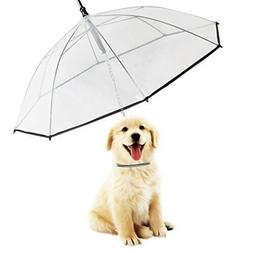 Transparent Pet Umbrella with Collar for Small Dogs | with B