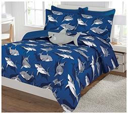 Fancy Collection 6 Pc Kids/teens Shark Blue Grey Design Luxu