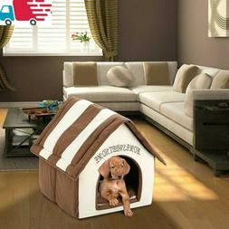 US Pets Dog House Pet Bed Cozy Puppy Cave Kennel Stable Port