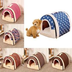 US Winter Pet Dog House Kennel Soft Beds Cave Cat Puppy Bed