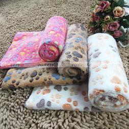 Warm Pet Blanket Dog Cat Soft Coral Fleece Paw Print Bed Mat