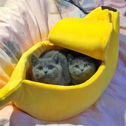 Warm Pet Dog Cat Bed Nest Banana Shape Fluffy Warm Plush Fle