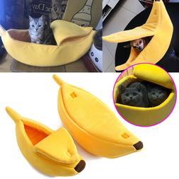 Warm Pets Dog Cat Bed Nest Banana Shape Warm Soft Kennel Hom