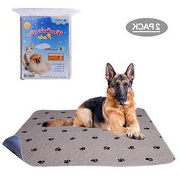 PUPTECK 2 Pack Washable Dog Pee Pads - Waterproof and Reusab