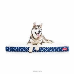 Brindle Waterproof Designer Memory Foam Pet Bed - Navy Trell