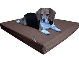 dogbed4less Waterproof Orthopedic Memory Foam Dog Bed with W