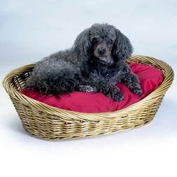 Snoozer Medium Wicker Basket Pet Bed with Red Pillow