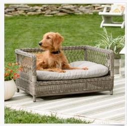 Wicker Dog Pet Bed Indoor Outdoor Lounge Cushion Gray Raised