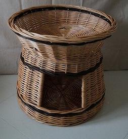 wicker willow round 2 tier bunk baskets