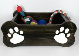 Wood Pet Toy Box, Dog bone bed, animal Storage, Paw Print or