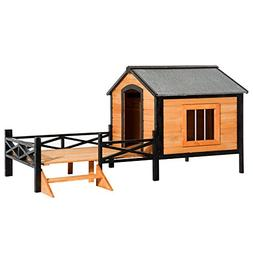 "PawHut 67"" Large Wooden Cabin Style Elevated Outdoor Dog Hou"