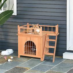 Wooden Pet House Dog Cat Puppy Room Bed Platform Bed Shelter