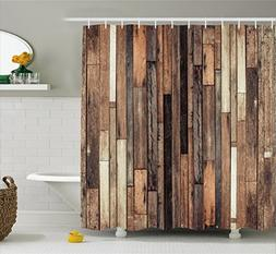 Ambesonne Wooden Shower Curtain Set, Brown Old Hardwood Floo