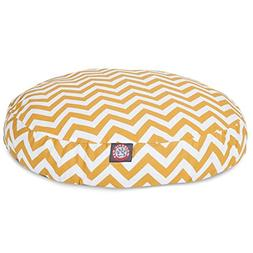 Yellow Chevron Medium Round Indoor Outdoor Pet Dog Bed With
