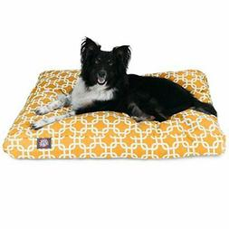 Yellow Links Medium Rectangle Indoor Outdoor Pet Dog Bed Wit