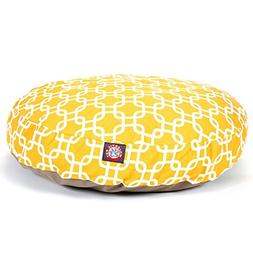 Yellow Links Small Round Indoor Outdoor Pet Dog Bed With Rem