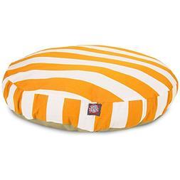 Yellow Vertical Stripe Large Round Indoor Outdoor Pet Dog Be