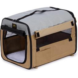 Zippered Easy Carry Pet Carrier in Khaki and Grey - Size: X-
